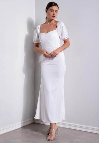ZALORA OCCASION white Satin Puff Sleeve Mermaid Dress 176FDAA44C62F0GS_1
