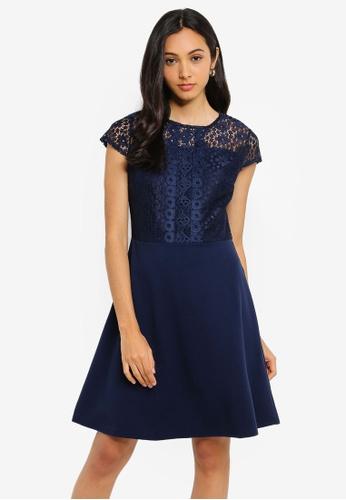 b4c83f99e57 Navy Scuba Lace Top Fit & Flare Dress