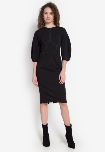 TOPSHOP black Embroidered Balloon Slv Midi Dress TO099AA0JP72PH_1