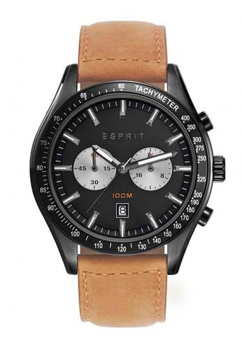 ESPRIT brown Esprit Jam Tangan Pria - Brown Black - Leather Strap - ES108241004  ES347AC0V50BID_1