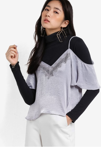 TOPSHOP silver Cold Shoulder Lace Insert Camisole Top TO412AA90DZLMY_1