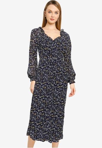 MISSGUIDED navy Tall Button Milkmaid Midi Dress C842DAAC157398GS_1