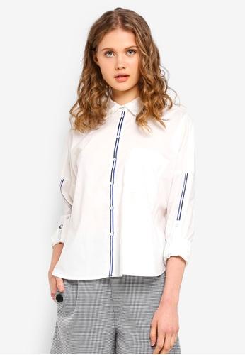ESPRIT white Woven Long Sleeve Shirt 7E951AA5B7272BGS_1