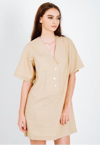 DETAK WAKTU beige and brown Detak Waktu Beige Linen Boxy Dress A9283AA7414FACGS_1