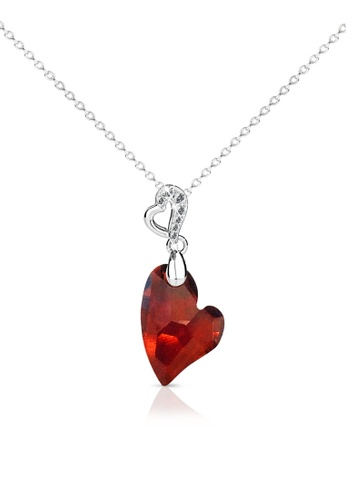 Her Jewellery red and silver Purely Heart Pendant (Red) - Licensed Genuine Crystals from Swarovski® HE581AC0RAZ0MY_1