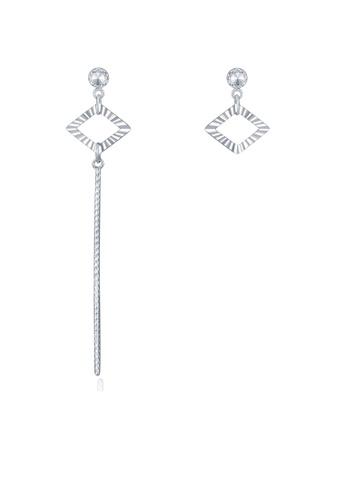 MaBelle silver 14K 585 White Gold Diamond Cut Square Tassel Stud Earrings 7B072ACE62880EGS_1