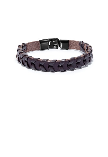 Glamorousky silver Simple Personality Brown Braided Leather Bracelet 16C73AC0B624ABGS_1