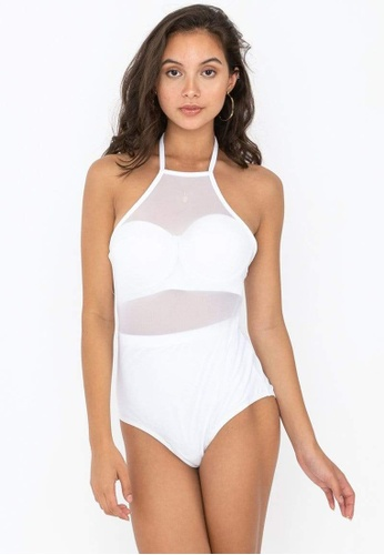 FUNFIT white Mesh One-piece Swimsuit (White) - XS - L 6FA62US495E308GS_1