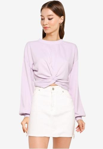 Noisy May 紫色 短版Sweatshirt 7FD4DAAC7F5B97GS_1