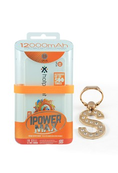 Powerbank 12000mAh with Mobile Ring Holder Letter S