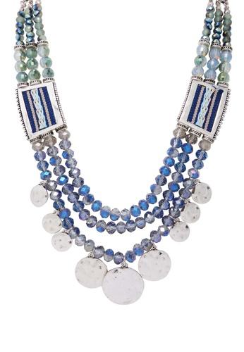 Jaysa Collection blue Modern Tribal Crystal Beads Necklace With Jacquard Ribbon JA875AC0F7HSSG_1