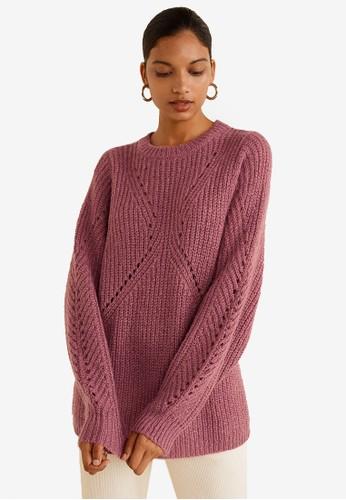Mango red Textured Knit Sweater 47D2DAA9B2D91FGS_1