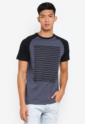 Fidelio grey Contrasted Sleeves Graphic Tee 88465AAAB8EB5CGS_1