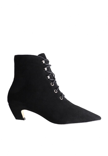 Twenty Eight Shoes black Pointed Toe Lace Up Mid Boots VB1002 C4ADDSH585793FGS_1