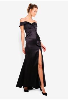 1213d4044e 47% OFF Goddiva Satin Bardot Bow Maxi Dress S$ 214.90 NOW S$ 112.90 Sizes 8  10 12 14