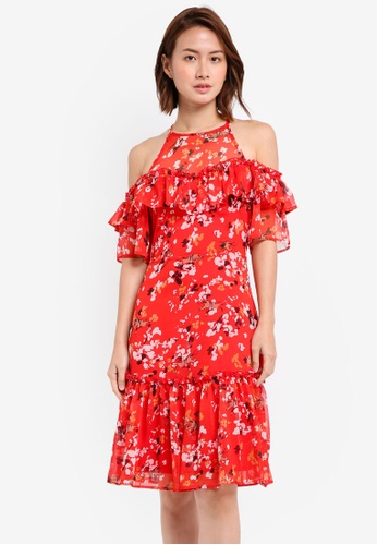 ZALORA red Cold Shoulder Midi Dress 9C316AA207DF2EGS_1