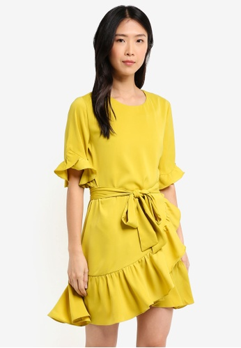 ZALORA yellow Belted Ruffle Dress 62216AA990FED8GS_1