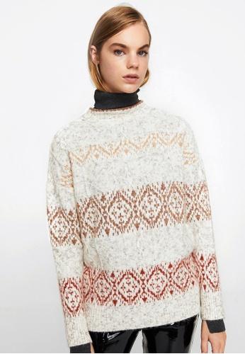 Mango grey Geometric Jacquard Sweater MA134AA0J7WOPH_1
