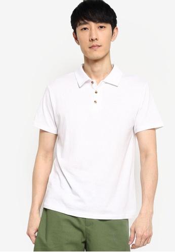 ZALORA BASICS white Linen Blend Polo Shirt E7AE3AAA2A2AF0GS_1