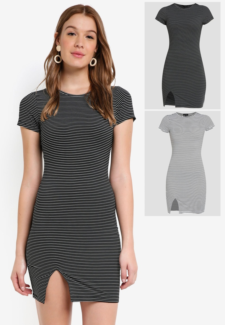 Dress Bodycon Stripe BASICS Sleeves Stripe 2 with Basic White White Black Short ZALORA pack Black ABnXqxZT