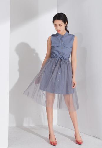 Zafiti blue Sleeveless A-line Dress 217B4AA9C30B00GS_1