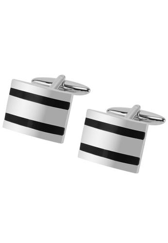 CUFF IT black Horizontal Black Enamel Stripe Cufflinks CU047AC78EHXHK_1