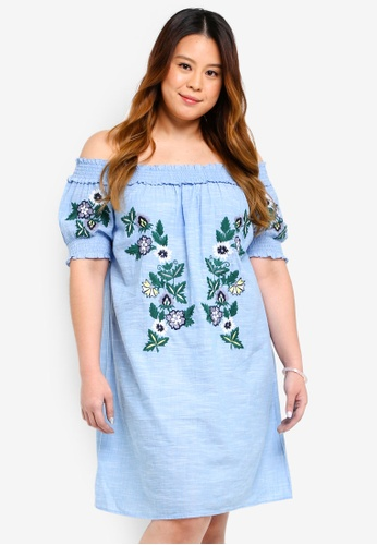 Dorothy Perkins blue Plus Size Chambray Embroidered Dress F09D6AAF0557DCGS_1
