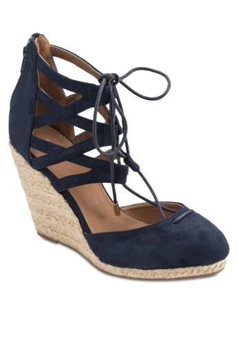 Morgan 羅馬繫帶楔型跟涼鞋esprit分店, 女鞋, 鞋