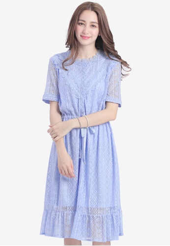 Yoco blue Ruffled Lace Peasant Dress F68C8AA47FC009GS_1