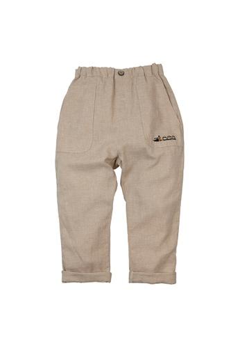 Vauva yellow Vauva Boys Train Linen Pants - Khaki EECD5KAA435F78GS_1