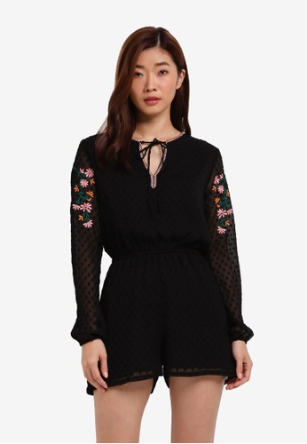 ZALORA black Dobby Embroidered Playsuit FED30AA893EF79GS_1