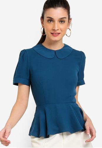 ZALORA 藍色 荷葉飾上衣 60484AA070E026GS_1
