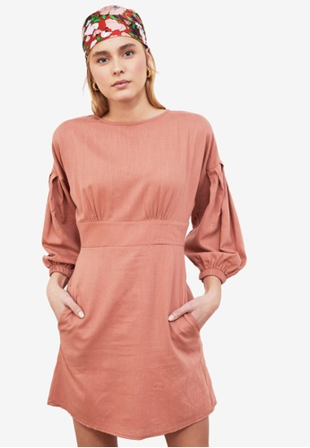 Trendyol pink Poplin Sleeve Dress FA99FAAEBCC2B6GS_1