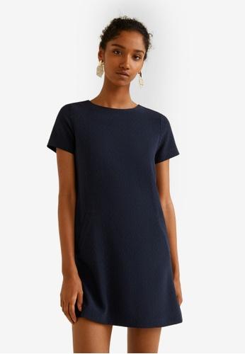 Mango blue and navy Textured Dress 71080AA67C3B52GS_1