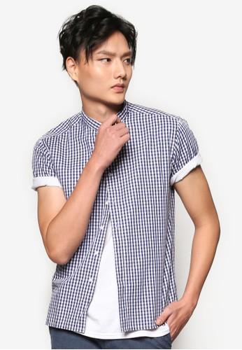 立領esprit台灣格紋短袖襯衫, 服飾, 短袖襯衫