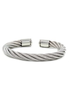 Venice Idelle Thick Silver Cable Wire Gold End Cuff Bracelet