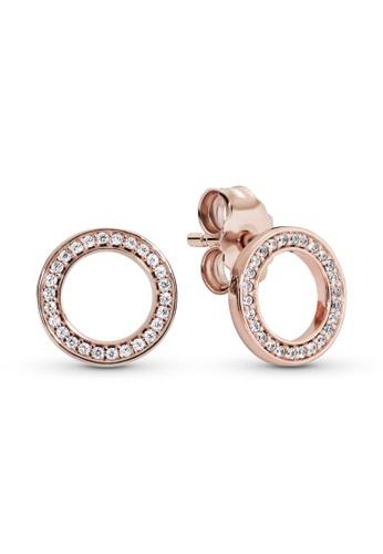 PANDORA silver Pandora Sparkling Circle Stud Earrings A0CA6AC4BA7483GS_1