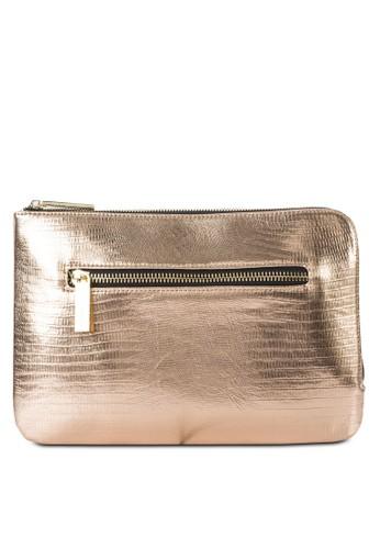 金屬感拉鍊topshop手拿包, 包, 飾品配件