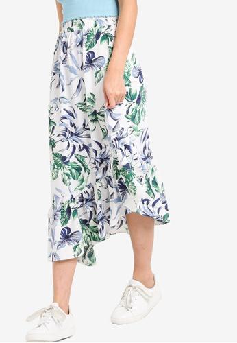 Something Borrowed white Printed Asymmetric Skirt DDB15AAF67D6F0GS_1