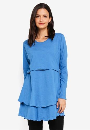 Aqeela Muslimah Wear blue Layered Nursing Top 82E0BAABBA1036GS_1