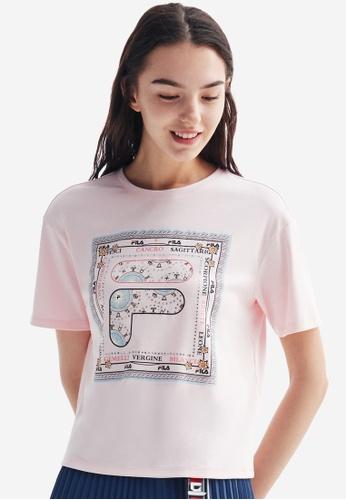 FILA pink Zodiac Theme Print F-box Logo Dropped Shoulder Cotton T-shirt 67D21AAB04E4C0GS_1