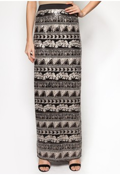 Aztec Sequin Straight Skirt