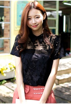 [IMPORTED] Romantic Encounter Lace Collar Top - Black