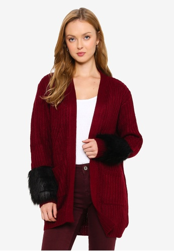 Brave Soul red Chunky Open Front Cardigan 5CE1AAAFEC56EBGS_1