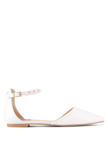 ZALORA white Ankle Strap Studded D'Orsay Flats 939F9SHC534D79GS_1