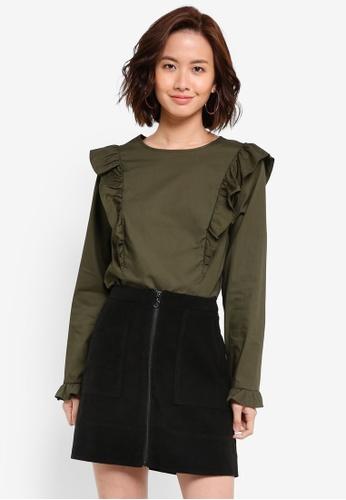Dorothy Perkins green Khaki Cotton Frill Top DO816AA0RJO9MY_1