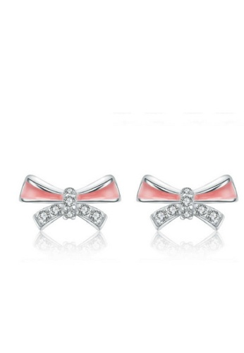 Vivere Rosse pink Blush Bow Stud Earrings - Pink VI014AC05SMSMY_1