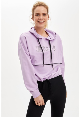 DeFacto 紫色 Long Sleeve Hoodie E6925AA164ACA6GS_1