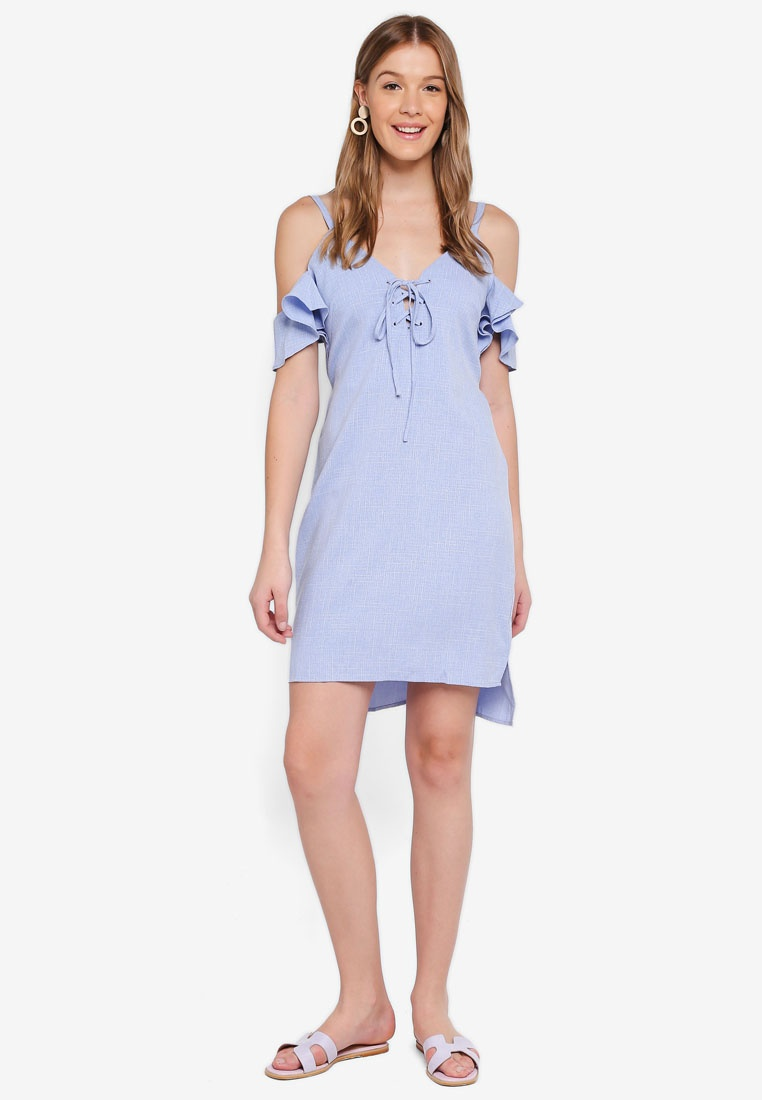 Blue Angeleye Shoulder Blue Dress Cold Sky Up Lace awqUnRZ