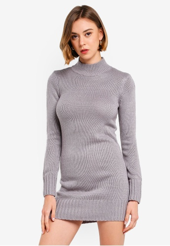select for clearance big sale most reliable Fluffy High Neck Jumper Dress